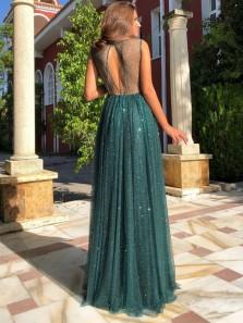 Elegant A-Line Boat Neck Open Back Green Glittering Prom Dresses,Sparkly Formal Party Dresses