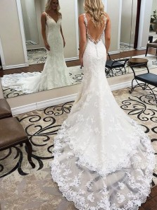 Elegant Mermaid V Neck Backless White Lace Wedding Dresses with Train