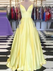 Elegant A-Line Spaghetti Straps V Neck Daffodil Satin Long Prom Dresses with Pockets