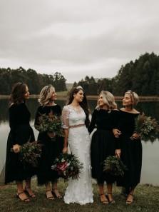 Elegant A-Line Boat Neck Long Sleeve Black Tea Length Bridesamid Dresses,Midi Wedding Guest Dresses