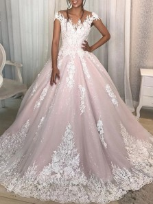 Charming Ball Gown Sheer Neck Cap Sleeve Pink Tulle Lace Wedding Dresses with Appliques