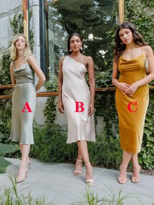 Boho Sheath Cowl Neck Mint Green Silk Satin Tea Length Bridesmaid Dresses Under 100