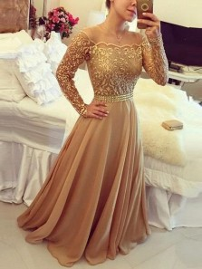 Elegant A-Line Off the Shoulder Open Back Champagne Chiffon Long Prom Dresses with Lace,Formal Party Dresses