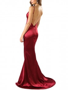 Sexy Mermaid V Neck Spaghetti Straps Backless Burgundy Satin High Split Long Prom Dresses with Train,Evening Party Dresses