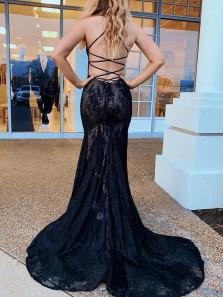 Alluring Mermaid V Neck Cross Back Black Lace Long Prom Evening Dresses,Formal Party Dresses