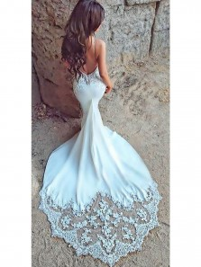 2018 Fashion Charming Sexy Mermaid Open Back Sweetheart White Lace Beach Wedding Dress with Applique
