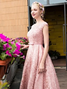 Cute A LinePink Beadings Lace-up Lace Tea Length Homecoming Dresses
