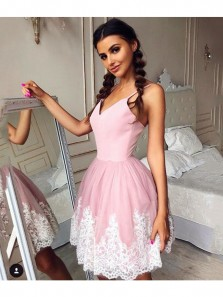 Cute A Line V Neck Spaghetti Straps Pink Short Homecoming Dresses with Lace, Short Prom Dresses