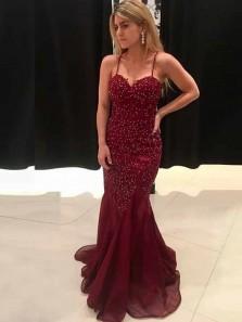 Chic Mermaid Sweetheart Spaghetti Straps Burgundy Beading Long Prom Dresses,Elegant Evening Party Dresses