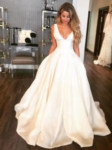 Simple A-Line V Neck Open Back White Satin Wedding Dresses with Pockets