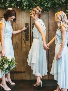 Elegant A-Line High Neck Pastel Mint Chiffon Bridesmaid Dresses with Appliques,Wedding Party Dresses