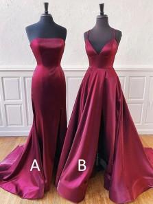 Simple Mermaid Strapless Open Back Burgundy Satin Long Prom Dresses,Formal Party Dresses