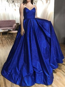 Charming Ball Gown Strapless Open Back Royal Blue Sequins Prom Dresses with Pockets,Formal Evening Party Dresses