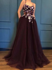 Princess A-Line Spaghetti Straps Open Back Brown Tulle Long Prom Dresses with Flowers Appliques,Pageant Dresses,Girls Junior Graduation Gown