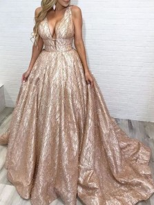 Ball Gown V Neck Open Back Gold Prom Dresses with Pearls