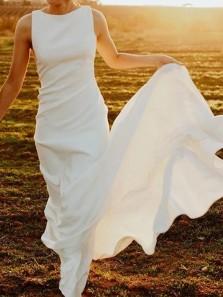 Elegant Sheath Round Neck Open Back White Soft Satin Long Wedding Dresses