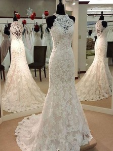 Exquisite Mermaid Halter Ivory Lace Wedding Dresses,Custom Made Bridal Wedding Gown