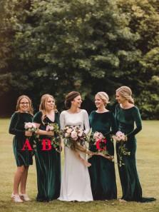 Vintage A-Line Long Sleeve Short Green Velvet Bridesmaid Dresses Under 100