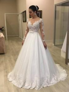 Elegant A-Line Round Neck Long Sleeve White Lace Wedding Dresses
