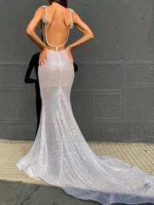 Sparkly Mermaid Deep V Neck Backless Sequins Evening Party Dresses with Train
