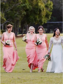 Mermaid V Neck Open Back Coral Pink Long Bridesmaid Dresses with Train