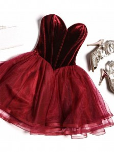 A-Line Sweetheart Open Back Burgundy Organza Short Cocktail Party Dresses,Short Prom Dresses Under 100