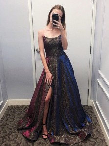 Sparkly A-Line Scoop Neck Open Back Brown Sequins Long Prom Dresses with Split,Formal Evening Party Dresses with Pockets