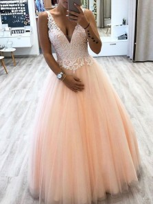 Charming A-Line V Neck Open Back Blush Tulle Long Prom Dresses with Lace,Evening Party Dresses