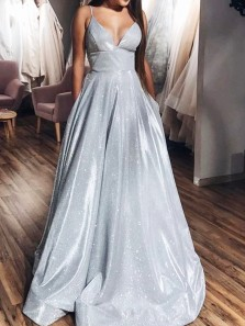 Glamorous A-Line V Neck Spaghetti Straps Open Back Silver Sequins Long Prom Dresses with Pockets,Evening Party Dresses