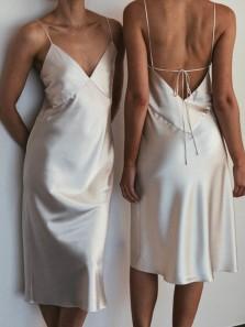 Chic Sheath V Neck Light Champagne Silk Satin Knee Length Bridesmaid Dresses,Wedding Guest Party Dresses