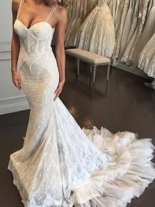 Glamorous Mermaid Sweetheart Lace Wedding Dresses with Train