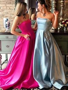Charming A-Line Strapless Fuchsia Satin Long Prom Evening Dresses with Beaded Pockets