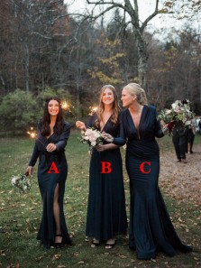 3 Styles V Neck Long Sleeve Satin Long Bridesmaid Dresses with Split,Evening Party Dresses