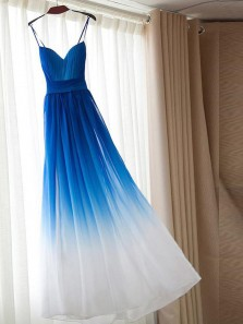 Unique A-Line Sweetheart Spaghetti Straps Open Back Blue/White Long Prom Dresses,Evening Party Dresses