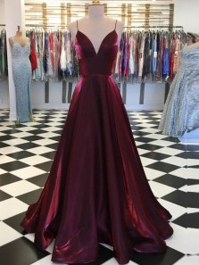 Elegant A-Line Sweetheart Open Back Burgundy Satin Long Prom Dresses with Pockets,Formal Prom Gown