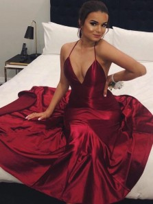 Sexy Mermaid V Neck Halter Open Back Burgundy Satin Long Evening Party Dresses with Train
