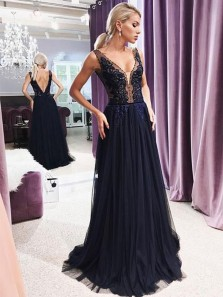 Elegant A-Line V Neck Open Back Navy Blue Tulle Long Prom Dresses with Appliques,Charming Evening Party Dresses