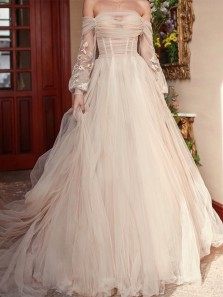 Romantic Ball Gown Off the Shoulder Long Sleeve Ivory Tulle Long Wedding Dresses