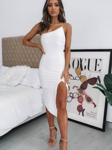 Simple Body con Spaghetti Straps White Prom Dresses with Slit,Evening Party Dresses Under 100