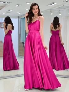 Pretty A-Line V Neck Spaghetti Straps Open Back Fuchsia Chiffon Long Prom Dresses