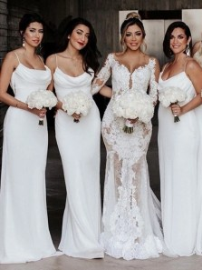 Charming Sheath Cowl Neck White Chiffon Long Bridesmaid Dresses