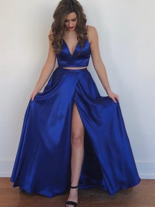 Modest A-Line Two Piece Sweetheart Bow Back Royal Blue Satin Long Prom Dresses with Side Split