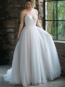 Elegant A-Line V Neck Spaghetti Straps Open Back White Tulle Wedding Dresses,Bridal Gown