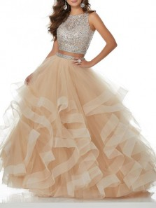 Elegant Ball Gown Two Piece Scoop Open Back Champagne Tulle Long Prom Dresses with Beading, Quinceanera Dresses