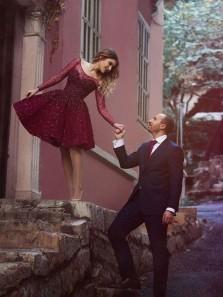 Long Sleeves Homecoming Dress A-Line/Princess Maroon Short/Mini Dresses