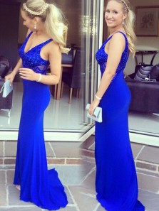 Sexy Deep V Neck Royal Blue Elastic Satin Mermaid Long Prom Dresses with Beaded,Formal Party Dresses DG8033
