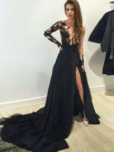 Charming A-Line Round Neck Long Sleeve Black Satin Long Prom Dresses with Lace,Evening Party Dresses