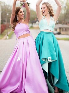 Charming A-Line Two Piece Halter Lavender Satin Long Prom Dresses with Pockets,Formal Party Gown