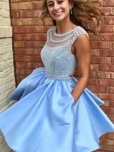 Charming Sleeveless Boat Neck Open Back Blue Short Homecoming Dress With Beading