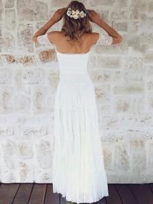 Modest A-Line Off the Shoulder Open Back White Lace Wedding Dresses,Beach Wedding Dresses 2019
